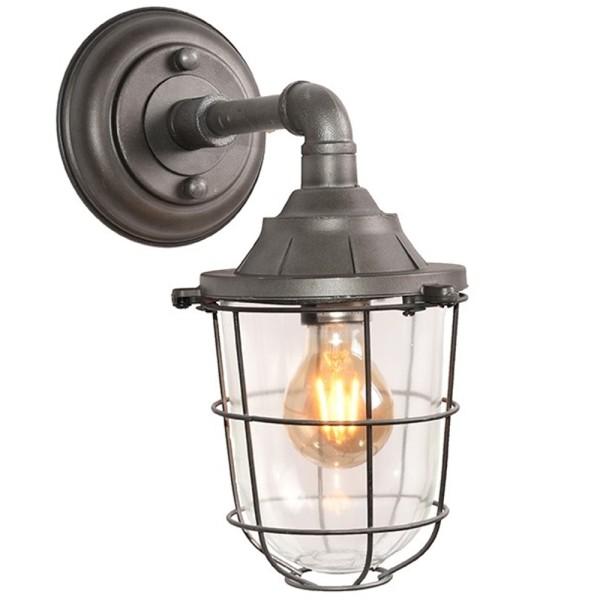 Wandlampe SEAL Metall grau Glas Wandleuchte Lampe Leuchte Beleuchtung
