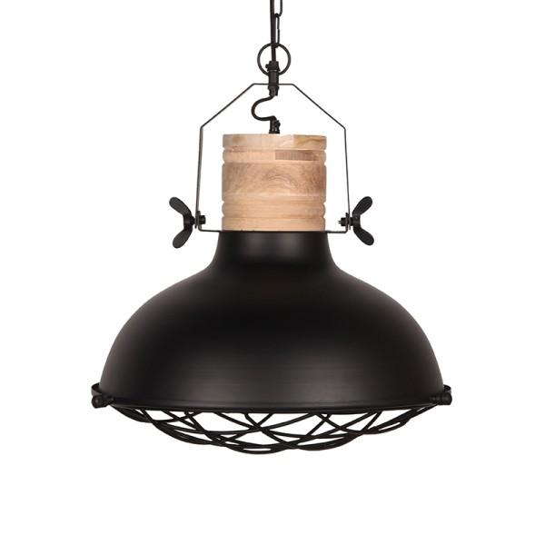 Industrie Lampe Design schwarz Holz Hängelampe GRID 52 cm Metall Hängeleuchte
