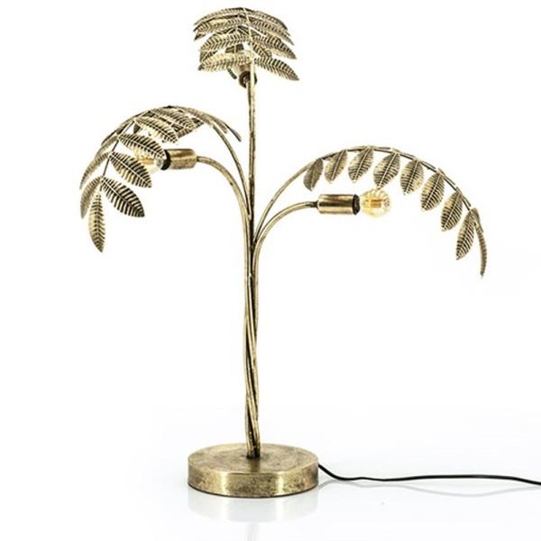 Tischlampe Unbeleafable 3 flmg. Metall messingfarben Leuchte Tischleuchte Lampe