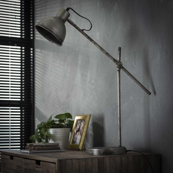 Tischlampe Loft Hinged H 67 cm Metall altsilber Leuchte Tischleuchte Lampe