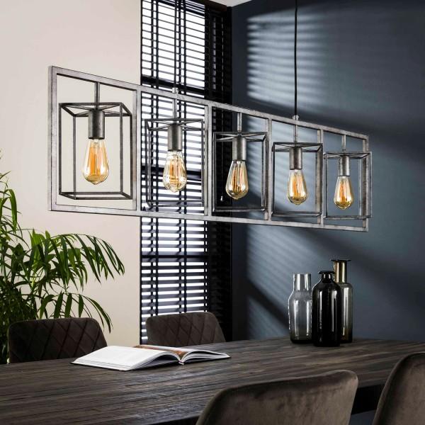 Hängelampe Cubus 5 flmg Metall altsilber Finish Lampe Deckenlampe Hängeleuchte