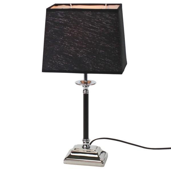 Tischlampe Silber schwarz 48 cm hoch Tischleuchte m. Schirm Lampe Leuchte