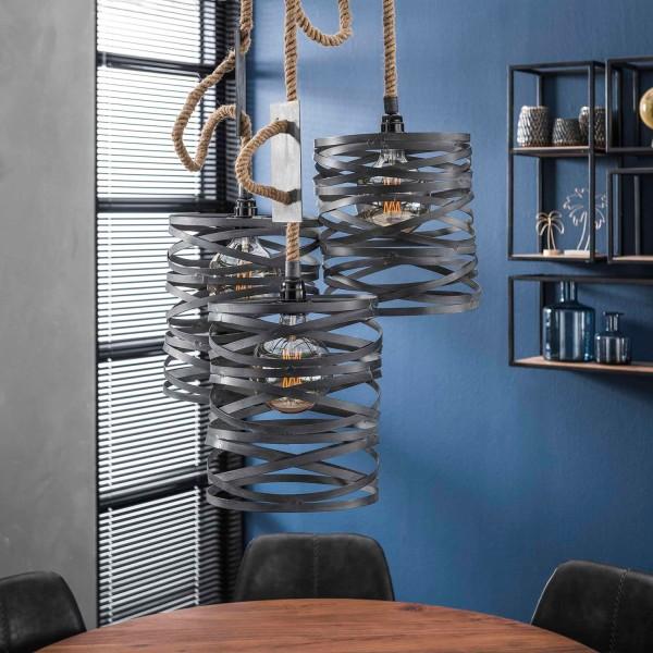 Hängelampe Seil 3 flmg Ø 25 cm Metall grau Deckenleuchte Lampe Hängeleuchte