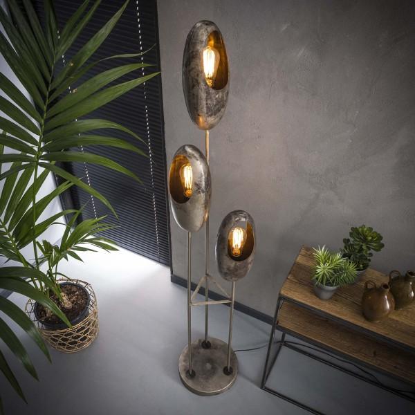 Flurlampe 3 flammig offenes Auge Metall altsilber Standleuchte Stehlampe Lampe