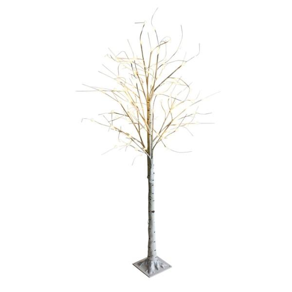 DEKOBAUM LED Baum Birke 180 cm Lichterbaum Weihnachtsbaum Deko 96 LED Lichter