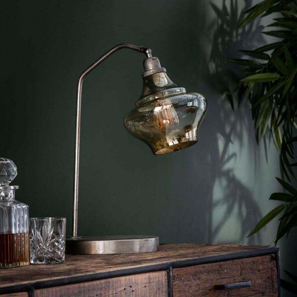 Tischlampe Salon 1 flmg Braunglas Metall alt silber Tischleuchte Lampe Leuchte