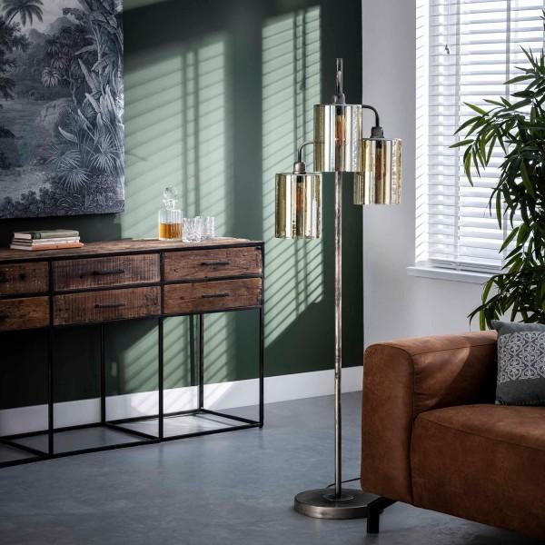 Stehlampe Borhar 3 flmg H 155 cm Metall Braunglas Standleuchte Stehlampe Lampe