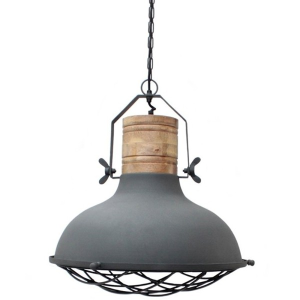 Industrie Hängelampe GRID Ø 34 cm Metall grau Holz Hängeleuchte Leuchte Lampe