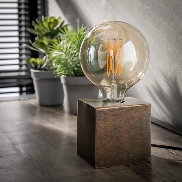 Vintage Tischlampe Block antik bronze H 10 cm Metall E27 Tischleuchte Lampe Blocklampe