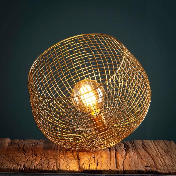 Tischlampe Ø 33 cm Korbdraht Metall goldfarben Tischleuchte Lampe Leuchte