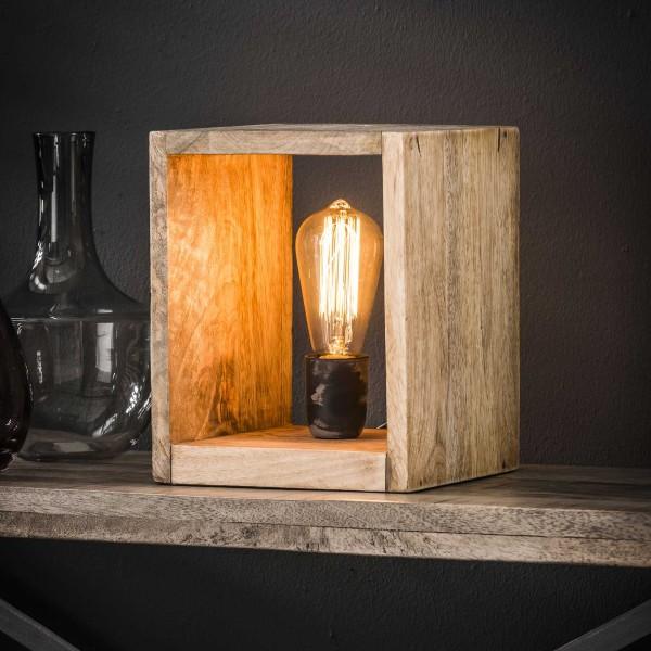 Tischlampe Holzquadrat 25 cm hoch Mango Massivholz Tischleuchte Lampe Leuchte