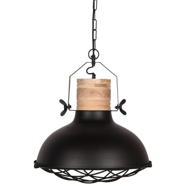 Industrie Hängelampe GRID Ø 34 cm Metall schwarz Holz Hängeleuchte Leuchte Lampe
