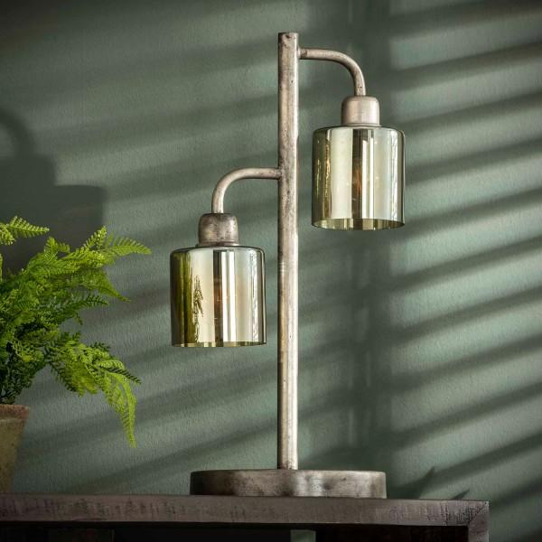 Tischlampe Borhar 2 flmg Braunglas Metall alt silber Tischleuchte Lampe Leuchte