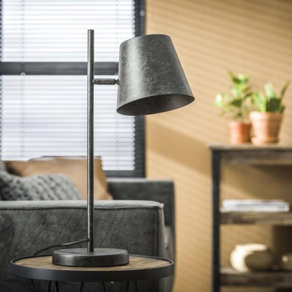 Tischlampe Metallschirm H 55 cm Metall anthrazit Leuchte Tischleuchte Lampe