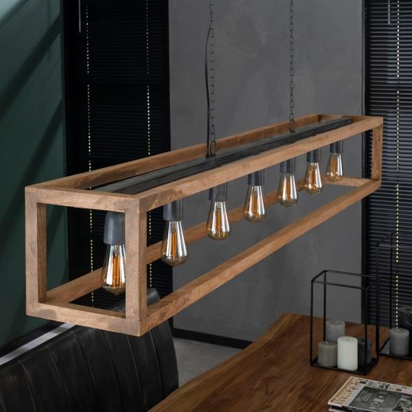Hängelampe 7 flammig 170 cm Rechteckholzrahmen Hängeleuchte Pendelleuchte Lampe