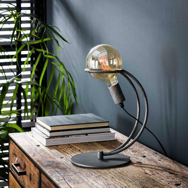 Tischlampe 1L Kurve mit Ring H 31 cm Metall altsilber Tischleuchte Lampe Leuchte