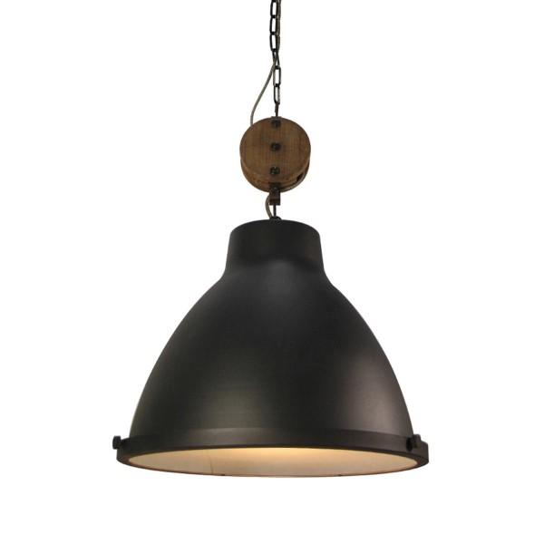 Industrie Lampe Design DOCK 42 cm schwarz Metall Holz Hängelampe Hängeleuchte-Copy