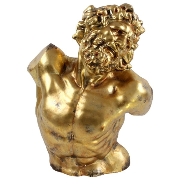 Deko Figur Statue Büste Prometheus H 85 cm Gold Kunstbüste Skuptur
