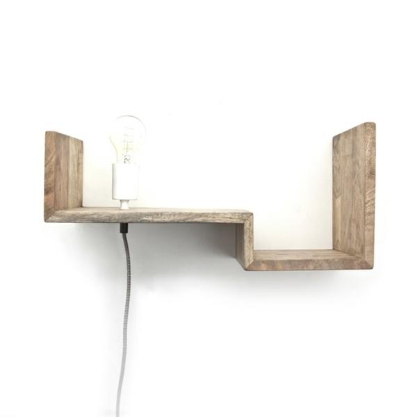 Wandleuchte TOP SHELVE Regal 50 cm Massivholz Board Wandlampe Leuchte Lampe