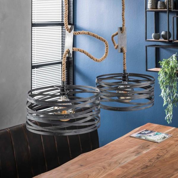 Hängelampe Seil 2 flmg Ø 40 cm Metall grau Deckenleuchte Lampe Hängeleuchte