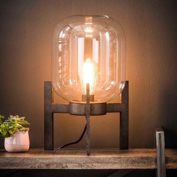 Tischlampe Glaskuppel H 44 cm silbergrau Metall Glas Tischleuchte Lampe