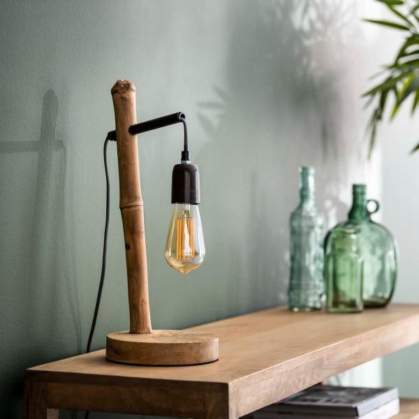 Tischlampe 1L Bambuss H 45 cm Metall Bambus Tischleuchte Lampe Leuchte