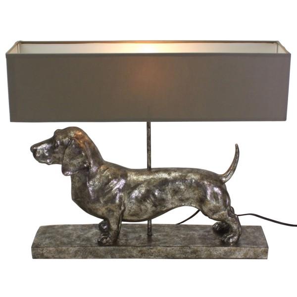 Tischlampe Dackel silber grau 48,5 cm hoch Tischleuchte Schirm Lampe Leuchte