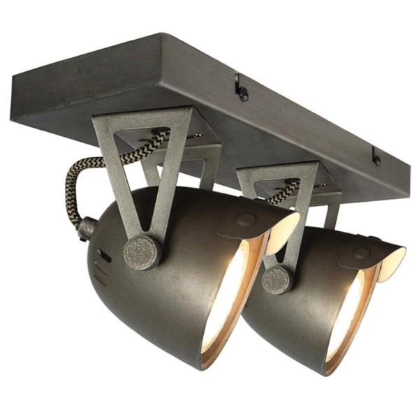LED Deckenleuchte SPOT CAP 2 flg Metall grau Lampe Deckenlampe Deckenbeleuchtung