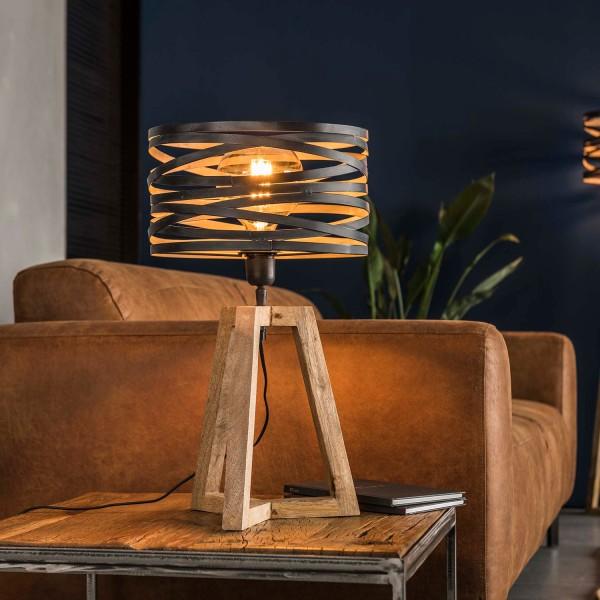 Tischlampe 1 flmg Ø 29 cm Metall grau Holzrahmen Tischleuchte Lampe Leuchte