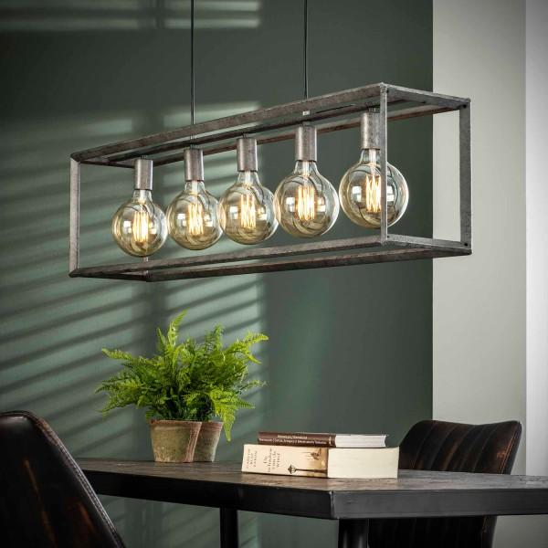 Hängelampe Metallrahmen 5 flmg alt Silber Deckenleuchte Lampe Hängeleuchte