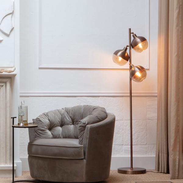 Flurlampe Split 3 flmg Metall braun Glas 158 cm Standleuchte Stehlampe Lampe