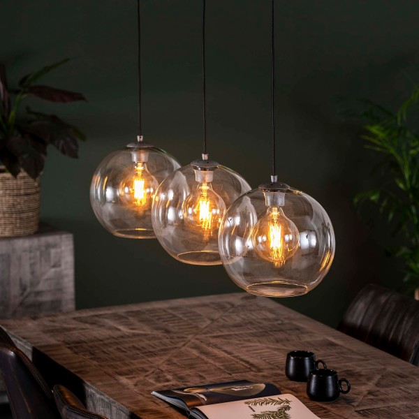 Hängelampe Glaskuppel 3 flmg Glas alt Silber Deckenleuchte Lampe Hängeleuchte