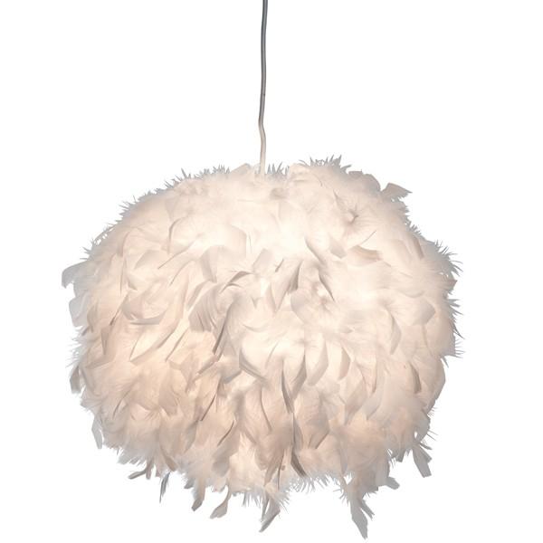 Pendelleuchte DUCKY Ø 30 cm Pendellampe Entenfedern Hängelampe Deckenlampe weiß