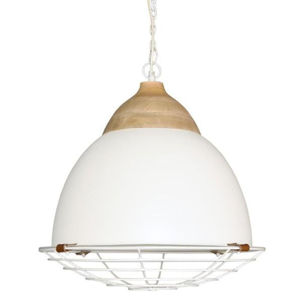 Hängelampe Rootz Ø 50 cm Metall weiß Holz Hängeleuchte Lampe Deckenlampe