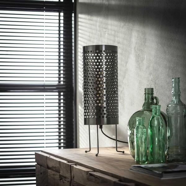 Tischlampe Zylinder perforiert Ø 18 cm Metall schwarz nickel Tischleuchte Lampe