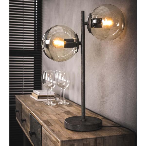 Tischlampe Glaskugel 2 flmg H 50 cm Metall altsilber Kugel Tischleuchte Lampe