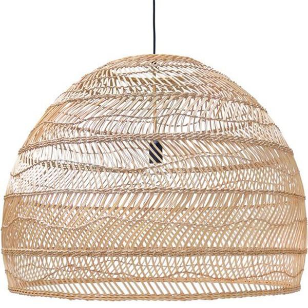Hängelampe WICKER Ø 80 cm Hängeleuchte Deckenleuchte Lampe Ried beige Handarbeit