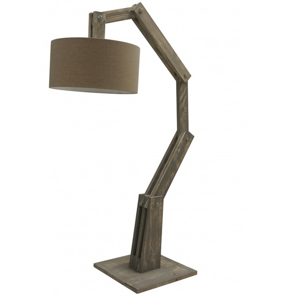Flurlampe Stehlampe BEN Stehleuchte Flurleuchte Lampe 205 cm Holz grau (ohne Lampenschirm)