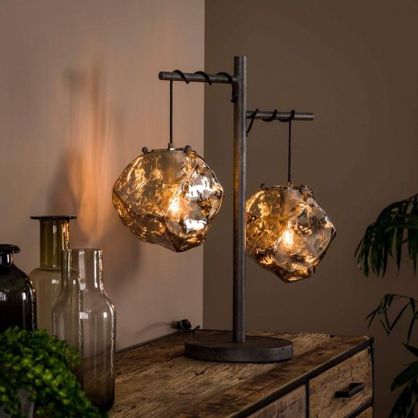 Tischlampe Stone H 60 cm 2L Metall Glas verchromt Tischleuchte Lampe Leuchte