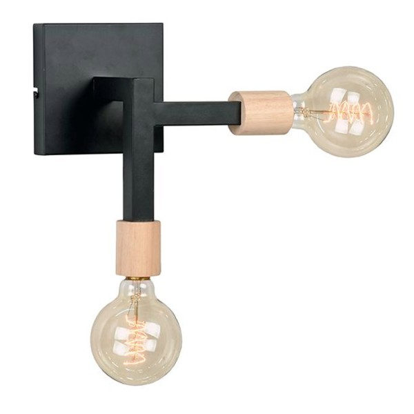 Wandlampe Loco H 27 cm 2 flmg Metall schwarz Wandleuchte Lampe Beleuchtung