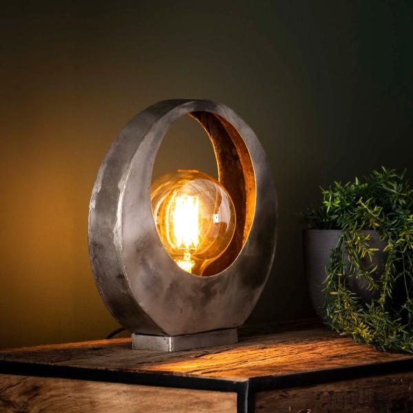 Tischlampe 1L Vollmond H 32 cm Metall altsilber Tischleuchte Lampe Leuchte