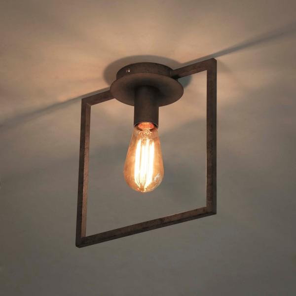 Deckenleuchte Metallrahmen 1 flmg alt Silber Lampe Deckenlampe Hängeleuchte