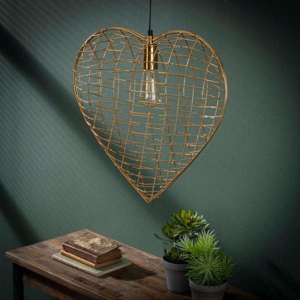 Hängelampe Heart of Gold Metall goldfarben Deckenleuchte Lampe Hängeleuchte