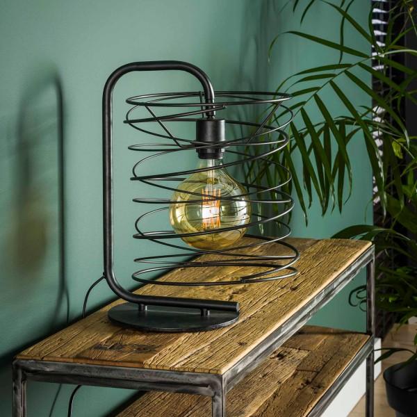 Tischlampe 1L CURLY H 41 cm Metall kohlegrau Tischleuchte Lampe Leuchte