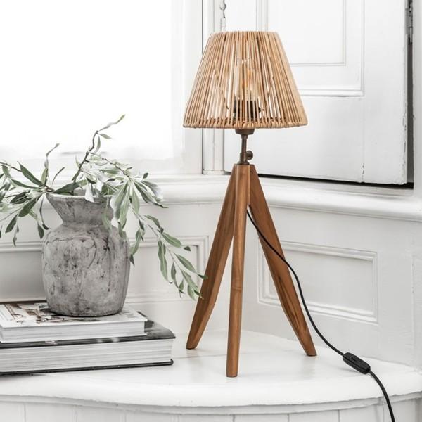 Tischlampe Montecristo 1 flmg H 48 cm Teakholz Rattan Tischleuchte Lampe Leuchte