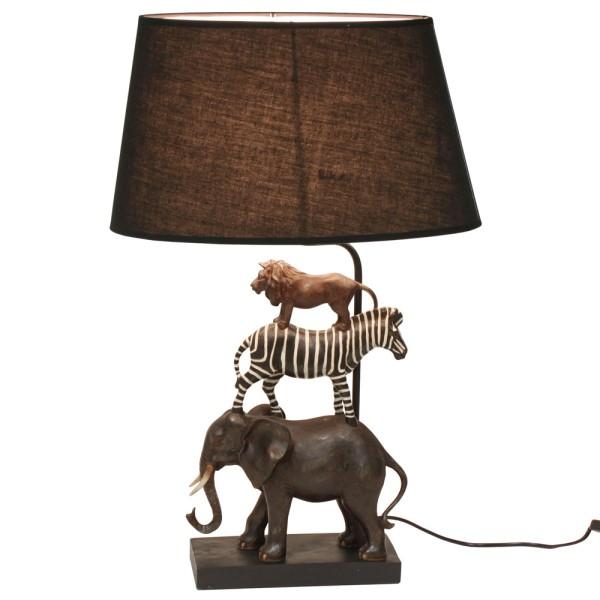 Tischlampe Safari 70 cm hoch Polyresin Tischleuchte Schirm schwarz Lampe Leuchte