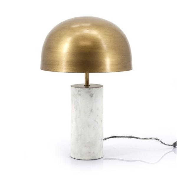 Tischlampe David H 49 cm Marmor weiß Metall messing Leuchte Tischleuchte Lampe