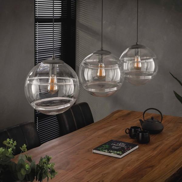 Hängelampe Birne Glas 3 flmg Ø 30 cm Metall schwarz Leuchte Deckenleuchte Lampe