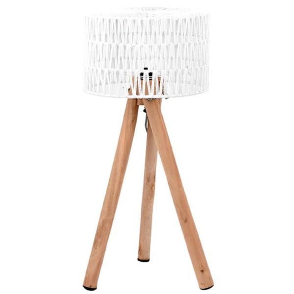Stehlampe STRIPE 69 cm Leuchte Tischlampe Tischleuchte Lampe Holz Schirm weiß