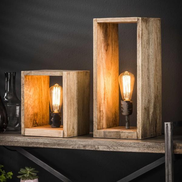 Tischlampe Holzrechteck 45 cm hoch Mango Massivholz Tischleuchte Lampe Leuchte